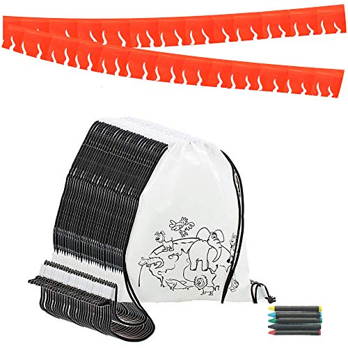 Piñata de Cumpleaños Infantiles Partituki. 25 Mochilas de Colorear, 25 Sets de 5 Ceras de Colores y una Guirnalda Roja de 20 m. Ideal para Detalles Cumpleaños Infantiles y Regalos Cumpleaños Niños