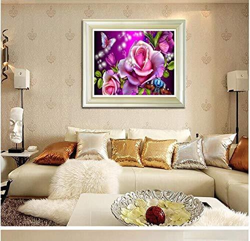 Punto de cruz pintado de diamante_5d regalo de punto de cruz pintado de diamante sueño rosa y mariposa con incrustaciones de decoración del hogar @ cubo de Rubik taladro redondo 20 * 22 cm taladro co