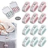 JEEZAO 12 Stück Bettdeckenbezug-Clips,Bettlakenhalter, Prevent Bunching & Shifting,Wäscheklammern (Grün + Pink)