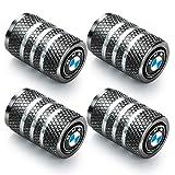 4 Pcs Tire Valve Stem Caps Suit for BMW 4 Pcs Metal Car Wheel Tire Valve Stem Caps for BMW X1 X3 M3 M5 X1 X5 X6 Z4 3 5 7Series Logo Styling Decoration Accessories Gray