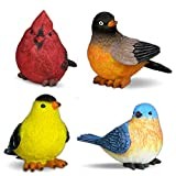 BANBERRY DESIGNS Singvogel Gartenstatuen – Set mit 4 sortierten Vogelfiguren Kardinal, Heidelfink...