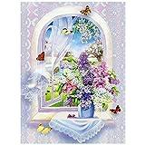 Diamond painting Flores de lavanda púrpura Arte Manualidades 5D DIY adultos Diamante Pintura Bordado de Punto de Cruz Completo Kit por Número para Pared Decoración del Hogar,Diamante redondo,50x70cm