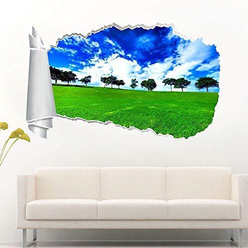 HUJL Pegatinas de pared hierba verde 3d agujero rasgado calcomanía de pared calcomanía mural de arte Calcomanía