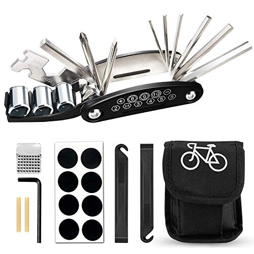 GUBOOM Fahrrad-Multitool, Fahrrad Werkzeug Tool 16 in 1 Multifunktions-Reparatursatz Fahrradwerkzeug Set für Fahrrad Reparatur, Werkzeugset Fahrrad mit Tasche, Selbstklebendes Fahrradflicken usw