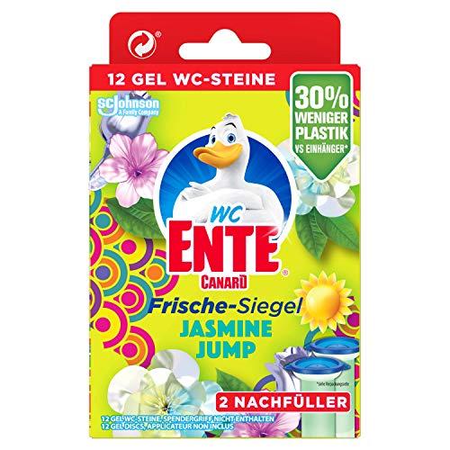 WC-Ente Frische-Siegel Nachfüller, körbchenloser WC-Reiniger, 12 Gel WC-Steine, Jasmine Jump, 72 ml