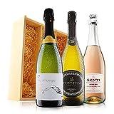 Cava, Prosecco & Pink Italian Fizz in Wooden Gift Box - 3 Bottles (