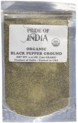 Pride Of India - Biologische zwarte peper gemalen - 8 oz (227 g) grote dubbele zeefpot - Verse veganistische kruiden en kruiden - Geteeld in India - Authentieke smaak - Uitstekende waarde