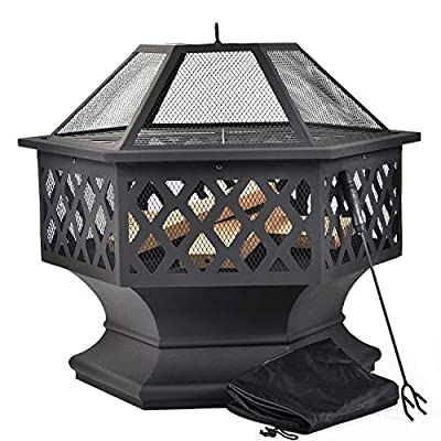 ZOEON Fire Pit for Garden - Outdoor Metal Fire Bowl with Spark Protection for BBQ - Patio Heater & Fire Pits With Poker, Grill Grate, Protective Cover by ZOEON