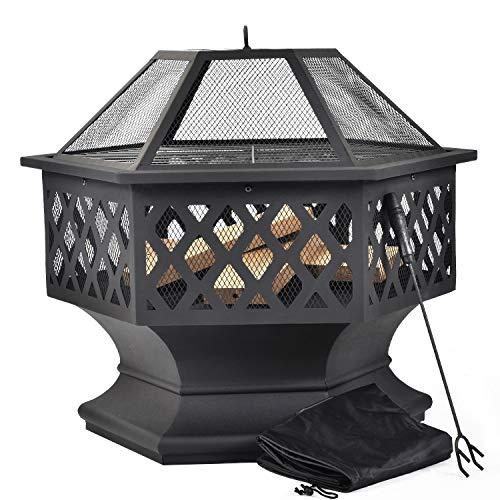 ZOEON Feuerschale mit Grillrost - Feuerstelle Garten mit Funkenschutz - Feuerschale und Feuerkorb für Garden Terrasse BBQ