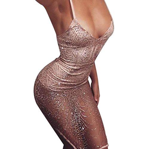 Amlaiworld Damen Sommer Frühling Pailletten V-Ausschnitt Kleid elegant Transparent Funkelnde Club Abendkleider Band Weste Mini Kleider Vintage Party...