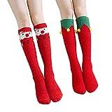 屋内屋外の暖かいクリスマスプレゼントのための2組のサンタの膝の高い柔らかいファジィ靴下