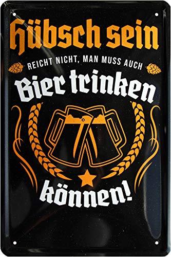 Hübsch Sein reicht Nicht, muss auch Bier Trinken 20 x 30 Spruch Blechschild 705