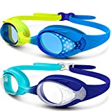 Kids Swim Goggles 2 Pack - Quick Adjustable Strap Swimming Goggles for Kids - A