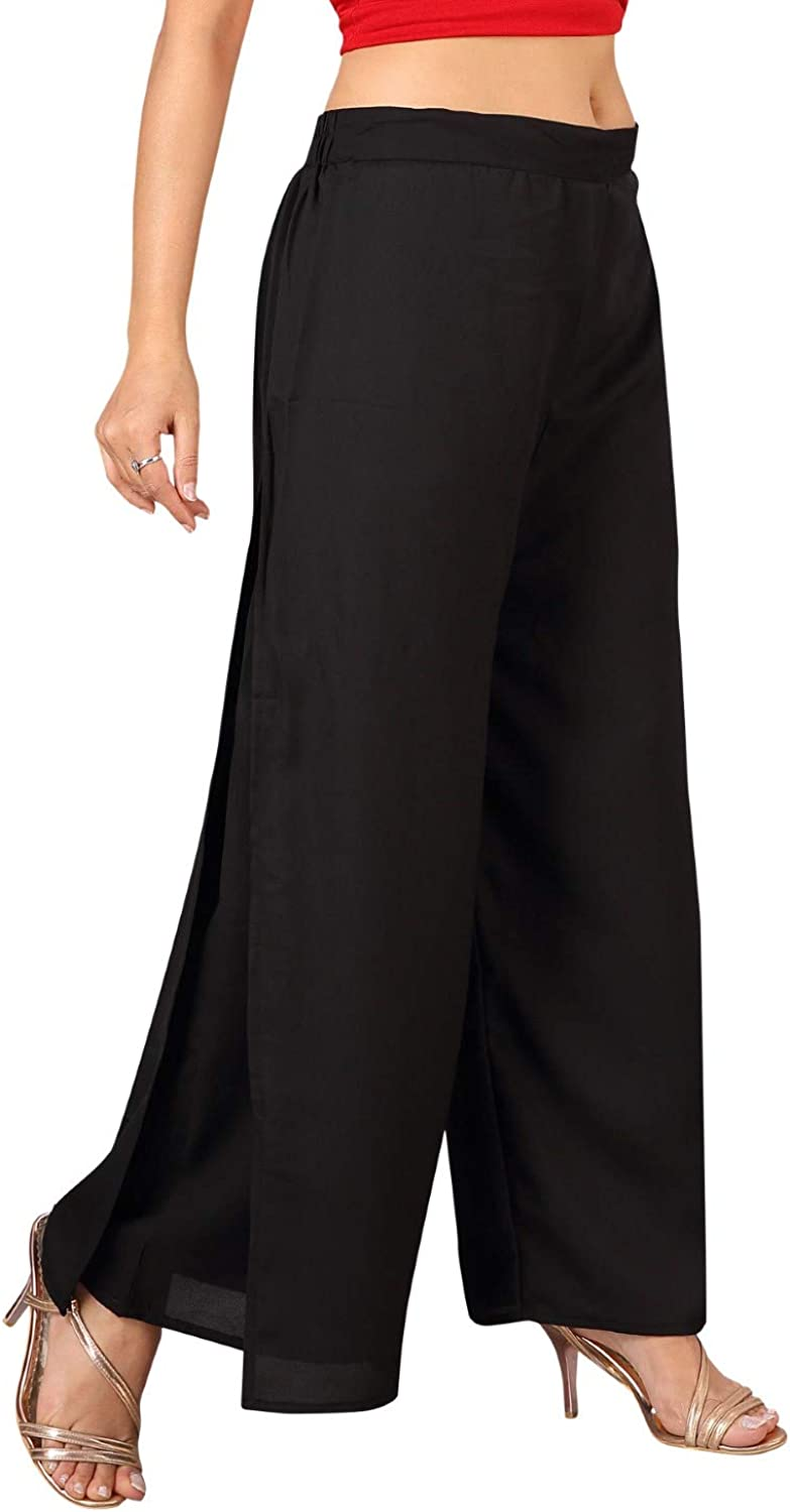Georgette High Waist Palazzo Pant for Women, Wide Leg, Comfy Plus Size, Casual & Party Wear | Slit for Flare Layered Design