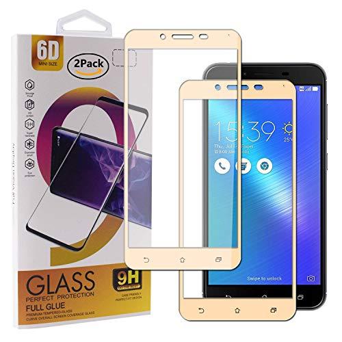 Guran [2 Paquete Protector de Pantalla para ASUS Zenfone 3 MAX ZC553KL Smartphone Cobertura Completa Protección 9H Dureza Alta Definicion Vidrio Templado Película - Dorado