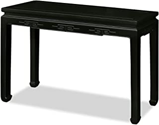 China Furniture Online Elmwood Console Table, 48 Inches Chinese Key Design Table Black Lacquer Finish