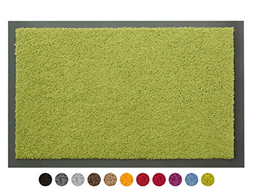 Schmutzfangmatte Sauberlauf Matte DANCER – Grün, 80x120 cm, Waschbare, Rutschfeste, Pflegeleichte Fußmatte, Eingangsmatte, Küchenläufer Matte, Türmatte Haustür Innen & Außen
