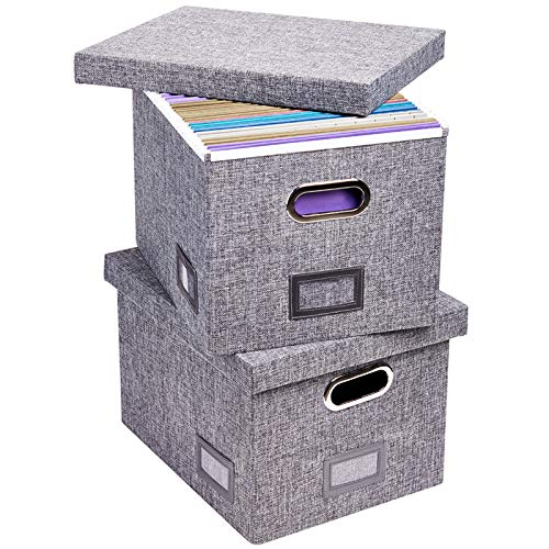 Superjare Updated File Box for Hanging Files Set of 2 Storage Office Box with 60 lbs Weight Capacity Durable MDF Board Linen Fabric File Storage Organizer for LetterLegal - Grey