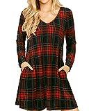 YOINS - Vestido de manga larga para mujer, hasta la rodilla, para otoño, invierno, con escote en V, sexy, minivestido a cuadros con cinturón rojo S