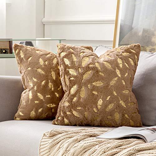 MIULEE Bronzing Feder Kissenbezug Buchstabe Kissenhülle Dekorative Kurzes Haar Dekokissen mit Reißverschluss Sofa Schlafzimmer 18 x 18 Inch 45 x 45 cm 2er Set Braun