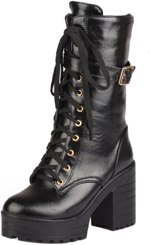 AicciAizzi Women Boots Zipper Chunky Sole