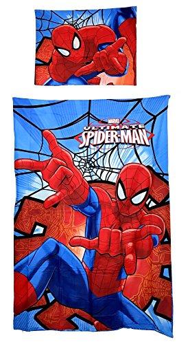 Juego de cama «Spiderman» compuesto por una funda de edredón de 140 x 200 cm. y 1 funda de almohada de 63 x 63 cm. en poliéster.