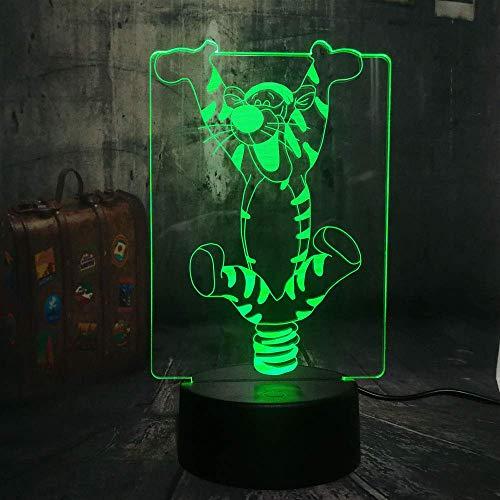 Winne Poth Light Comic Action Bounce Tigger CARTTOON LED Tischlampe für Mädchen Raumdekor Warmstimmung Nachtlicht 3D Optisch 7 Farbe USB Kabel Änderung Weihnachten Festival Geschenk Für Teenager Erwac