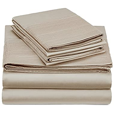 Pinzon 400-Thread-Count Egyptian Cotton Sateen Pleated Hem Sheet Set - Queen, Parchment