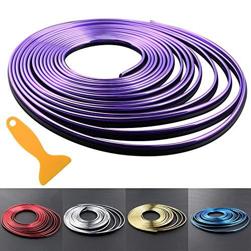 Car Interior Trim Strips - 16.4ft Universal Car Gap Fillers Automobile Moulding Line Decorative Accessories DIY Flexible Strip Garnish Accessory with Installing Tool (5M-Purple)