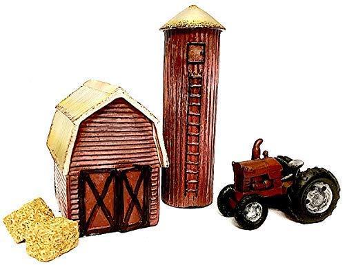 PaBu GuLi DIY - Miniature Garden Kit - Farm Set with Barn, Silo, Tractor and Hay Bales for Gnome, Troll or Fairy Garden