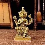 LILOVE Pure Copper Thai Four-Faced Buddha Big Brahma King Buddha Statue Home Car Decoration Crafts Ornaments