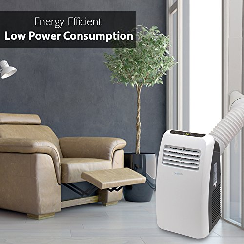 SereneLife 8,000 BTU Portable Air Conditioner, 3-in-1 Floor AC Unit with Built-in Dehumidifier, Fan Modes, Remote Control, Complete Window Mount Exhaust Kit for Rooms Up to 225 Sq. ft