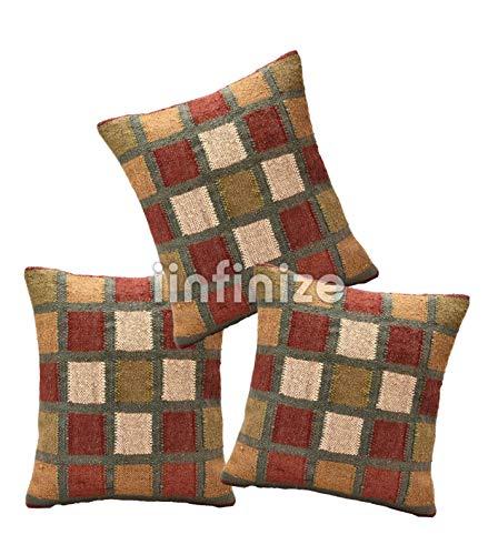 iinfinize Funda de almohada de yute de lana cuadrada para sofá de estilo vintage, funda de cojín para sala de estar, almohada decorativa para sofá hippie, almohada bohemia (Multi 1, 3)