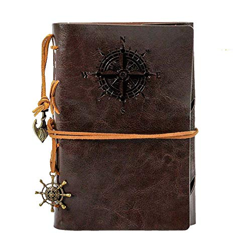Leather Writing Journal Notebook,Classic Spiral Bound Notebook Refillable Diary Sketchbook Gifts with Unlined Travel Journals to Write in,Retro Pendants,Classic Embossed(Coffee)