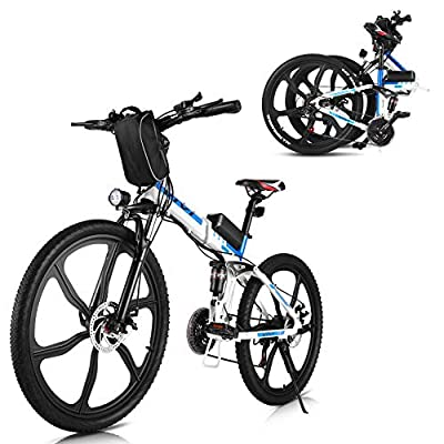 "Vivi 26"" 350W Electric Bike Folding Electric Mountain Bike 36V 8Ah Removable Battery Professional 21 Speed Gears Adults E-Bike (White)"