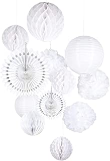 Tissue Paper Honeycomb Balls Hanging Pom Poms Paper Cutout Fans for Wedding Birthday Nursery Party Decoration, White Color Mix Sizes, 12 Pieces Easy Joy
