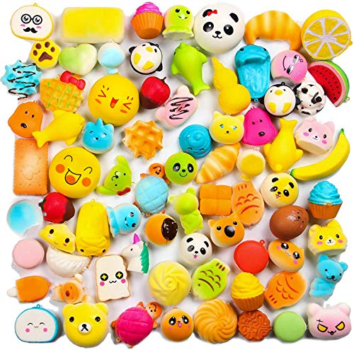 WATINC Random 20 pcs Squeeze Toys Cream Scented Kawaii Simulation Lovely Toy Medium Mini Soft Food Squeeze Toys, Phone Straps (20P Donuts)