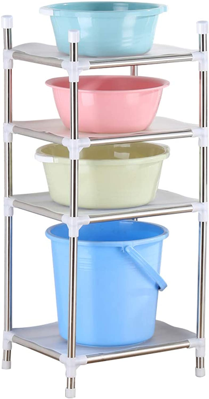ZHANWEI Bathroom Shelf Shower Organiser Floor-Standing Punch Free Multifunction Washbasin Shelf Multi-Layer Drain Stainless Steel Kitchen 4 Tier (color   440x400x940mm)