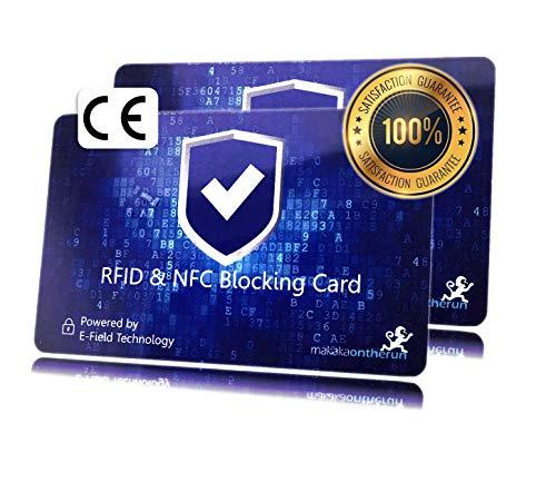 RFID NFC Blocker Karte - Elektron. Störsender: 1 Karte reicht - Schutz-Karte für Portemonnaie, Geldbörse, EC Karte, Bankkarte, Kreditkarte, EC Karte, Ausweis - 2 STK