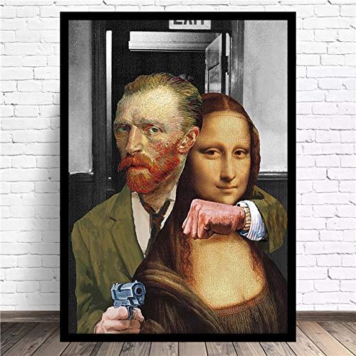 BGFDV Parodia Pintura Famosa Van Gogh Mona Lisa Divertido Arte Decorativo Pintura habitación decoración de Pared Lienzo Pintura