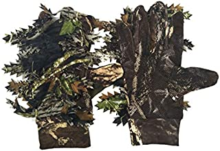 SODIAL Outdoor Hunting 3D Maple Leaves Bionic Camouflage Gloves Full Finger Skid Proof Fishing Gloves
