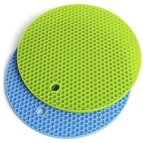 igadgitz U6881 Juego de 2 Home Salvamanteles de Silicona Redondo Resistente al Calor Alfombra de Silicona Antideslizante - Azul y Verde (18.5cm)
