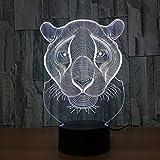 3D ilusión lámpara de escritorio Luz de Noche Lioness regalo de cumpleaños para jóvenes, niñas Con interfaz USB, cambio de color colorido