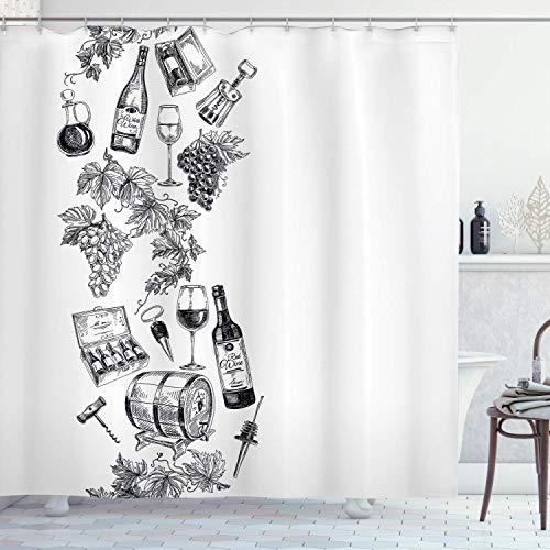 N \ A Sketchy - Cortina de ducha, diseño vintage con ilustración de uvas dibujadas a mano, botella de vino, barrica de vino, tela para decoración de baño con ganchos, 183 x 183 cm, color blanco carbón