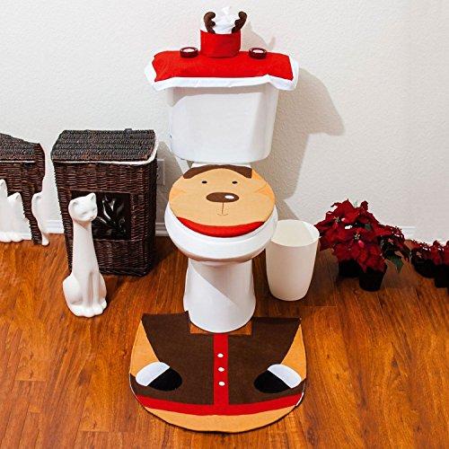 Starmo Novelty Christmas Xmas Decoration Reindeer Toilet Seat Cover, Rug & Tissue Box Cover Bathroom Set
