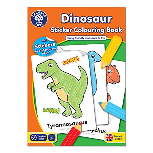 Orchard Toys Dinosaur Sticker Colouring Book - Educational Colouring Book -...