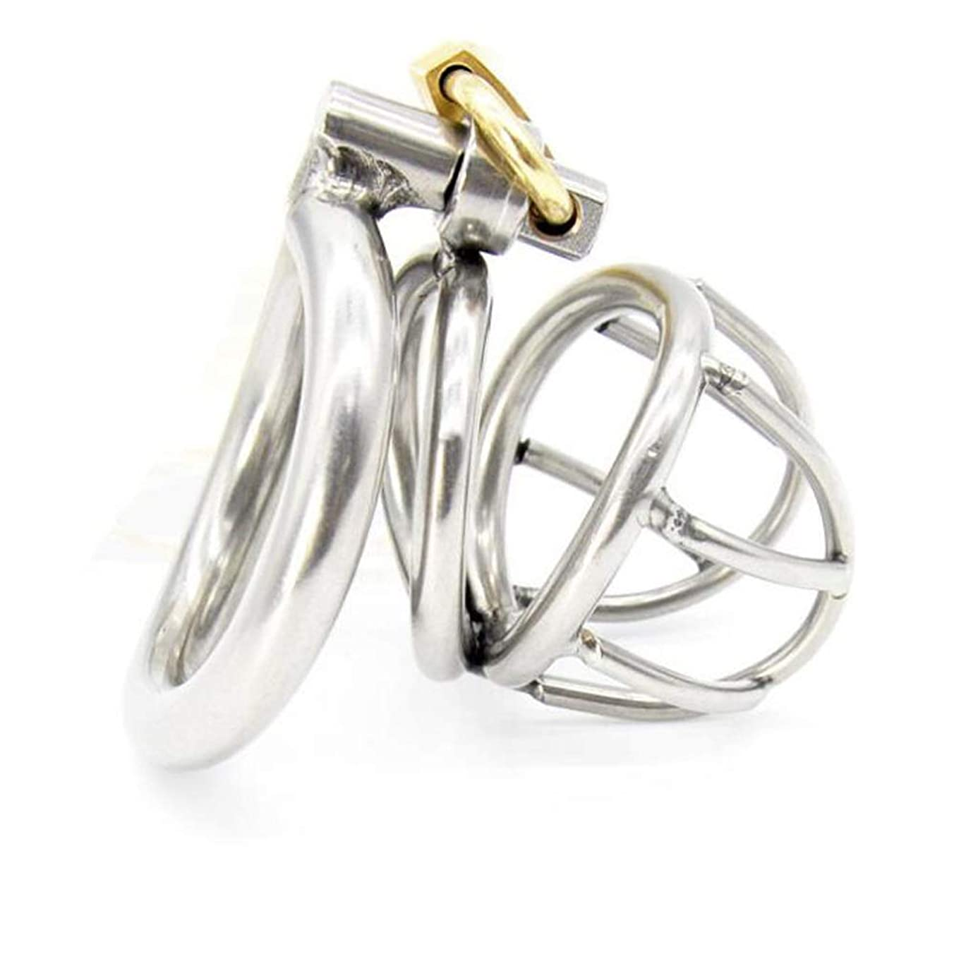 CJH Two-Ring Male Chastity Lock Stainless Steel Metal Curved Ring Axe Chicken Cage