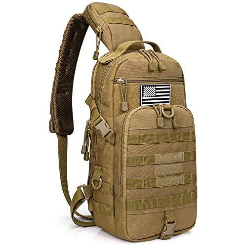 G4Free EDC Tasche Taktische Sling Angelausrüstung Molle Brusttasche Outdoor Daypack (Tan)