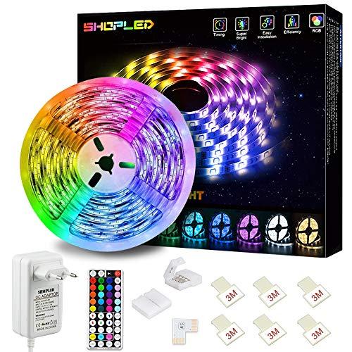 Tiras LED 5M, SHOPLED Luces LED RGB 5050 con Control Remoto de 44 Botones, 150 Tira LED 20 Colores 8 Modos de Brillo y 6 opciones DIY para la Habitación, Dormitorio, Techo