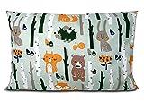 BALBINA Kinder Kissenbezug Kissenhülle Baumwolle Dekokissen Kinderzimmer (Wald zartgrün, 40x60 cm)